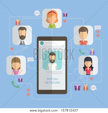 Social networking concept. Smartphone with connections to icons. Scheme of social net.