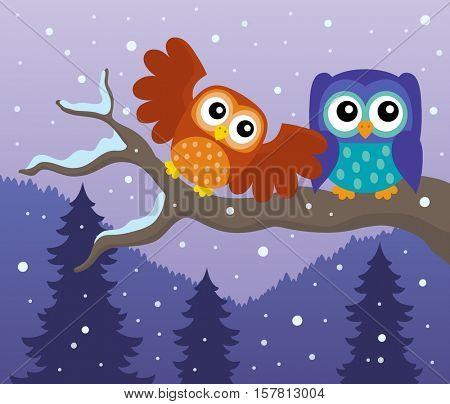 Stylized owls on branch theme image 7 - eps10 vector illustration.
