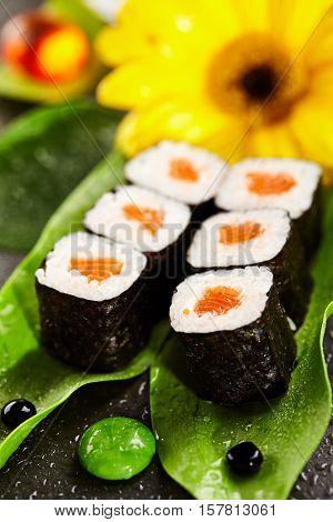 Sake Maki - Sushi Roll with Salmon inside. Seaweed outside