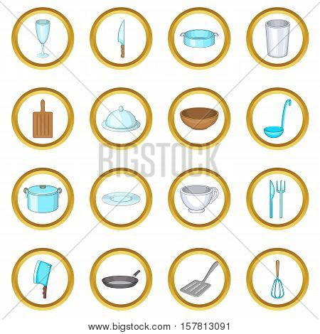 Basic dishes vector set in cartoon style isolated on white background