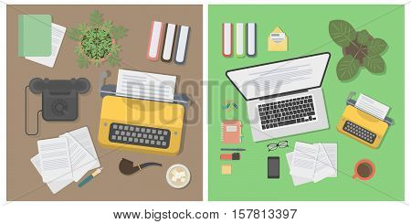 Writer desk mockup set. Desk with typewriter, laptop, notes and plant. Workplace of writer or journalist.