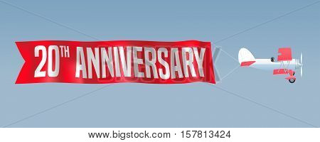 20 years anniversary vector illustration banner flyer icon symbol sign. Design element with airplane and wavy ribbon for 20th anniversary birthday card