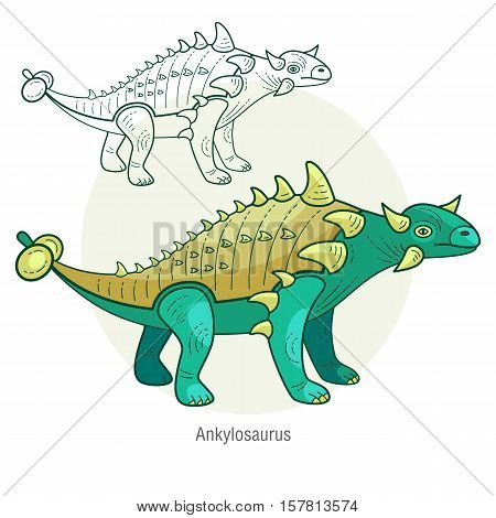 Ankylosaurus. Ancient jurassic reptile vector illustration cartoon prehistoric dinosaur isolated on white background. Full-color flat images animal and abstract linear.