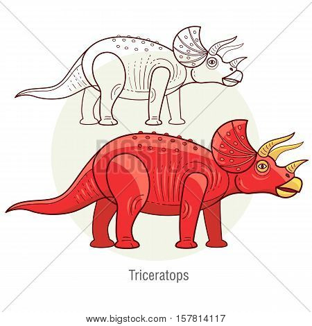 Triceratops. Ancient jurassic reptile vector illustration cartoon prehistoric dinosaur isolated on white background. Full-color flat images animal and abstract linear.