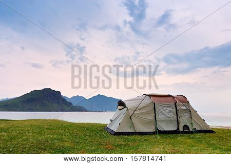 Camping On The Ocean Coast. Vacation In Norway