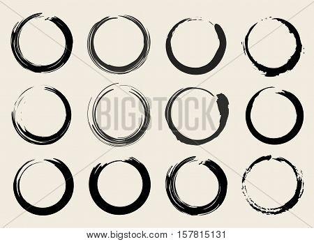 Vector Zen Circles or Stains Symbols Set Illustration