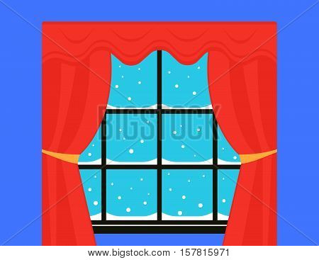 window with red curtain and snowstorm outdoor. snow on winter window with red velvet neatly knotted curtain