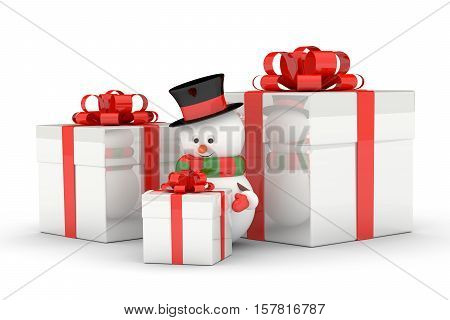 3D Rendering Of Snowman With Presents Over White