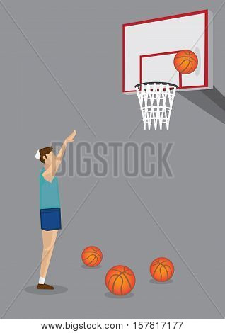 Hardworking male basketball player feeling bummed about missed shot during training session. Conceptual vector cartoon illustration isolated on grey background.