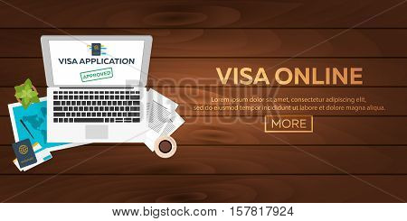 Visa Online. Visa Application. Document For Travel. Vector Flat Illustration.