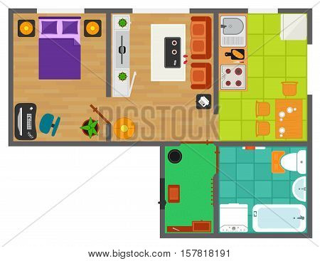 detailed apartment furniture overhead top view. apartment plan with furnishing element set.