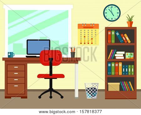 business office or home workplace. modern illustration with room furniture interior for work place.