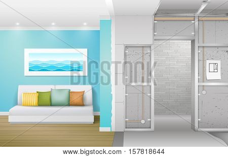 Interior under construction. Frame drywall design and complete living room. Vector graphics