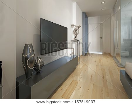 Modern Tv Unit With The Decor Figurine, Modern Living Room.