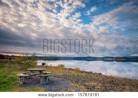 Kielder Reservoir Picnic, in Kielder Water and Forest Park, Northumberland, which has the largest man made lake in Northern Europe. The reservoir sits in the North Tyne Valley with the river flowing through it
