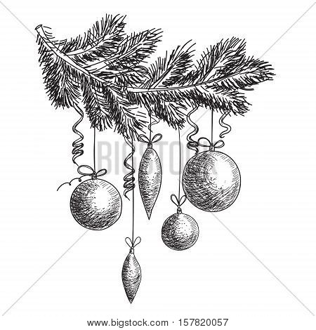 Hand drawn sketch Fur tree branch with New Year and Christmas decorations. Christmas and New Year design elements