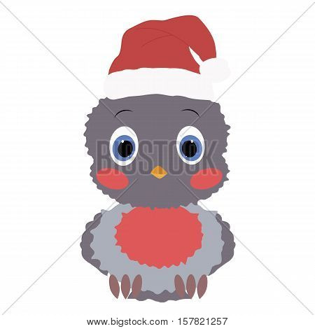 Colored icon baby bird bullfinch in a Santa hat on a white background. Winter vector illustration. Pattern to decorate or design scrapbook. Baby shower
