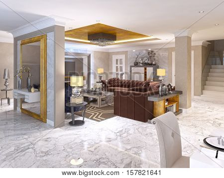 Luxurious Living Room Style Art Deco In White.