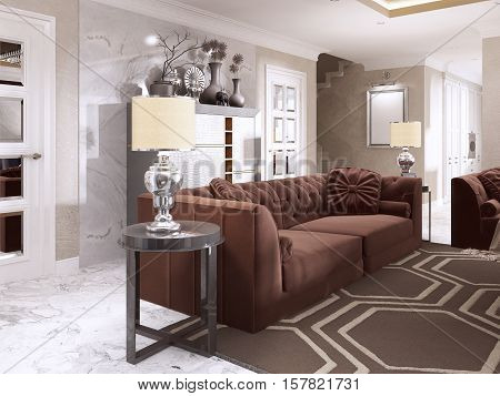 Maroon Sofa With Black Side Tables And Table Lamps.