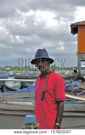 Portrait of dweller and fisherman of the city of Piaçabuçu, the banks of the river san Francisco, state of Alagoas, Brazil. May 05, 2009