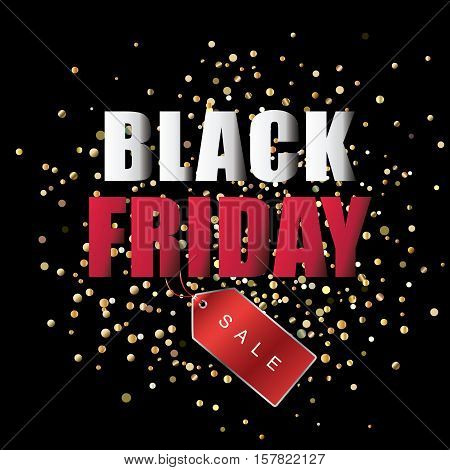 Black Friday sale black banner. Discount or special offer price sign on Black Friday. Sale banner with red price tag and glitter confetti background. Promo offer on black friday. Special offer sale sticker. Discount tag on Black Friday. Special offer Blac