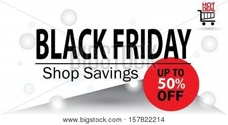 Black Friday sale design template. Black Friday 50 percent discount banner on abstract background. Vector illustration