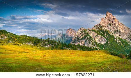 Fantastic Summer Scene Of The Sass De Stria Mountain Range