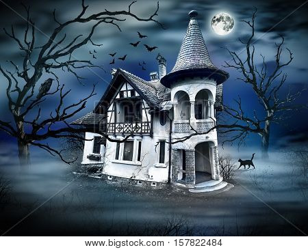 Haunted House. Haunted Scene House. Haunted Atmosphere