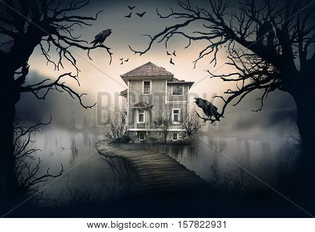 Haunted House on the Lake with Dark Horror Atmosphere. Haunted Lake Scene House.