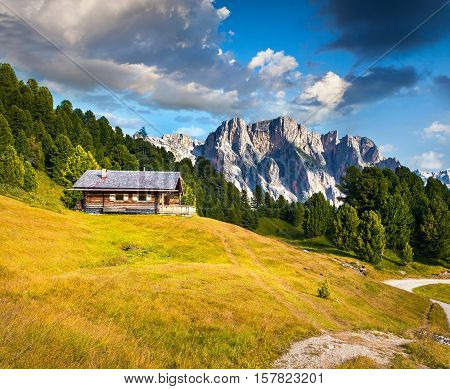 Summer Scene With Pizes De Cir Mountain Range. Colorful Sunny Landscape In Gardena Valley. Morning I
