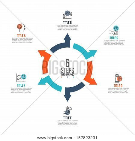 Vector arrows infographic. Template for cycle diagram, graph, presentation and round chart. Business concept with 6 options, parts, steps or processes. Data visualization.