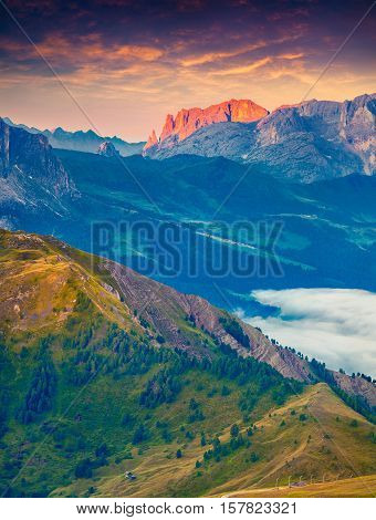 Colorful Morning View Of Sciliar (schlern) Mountain Masive