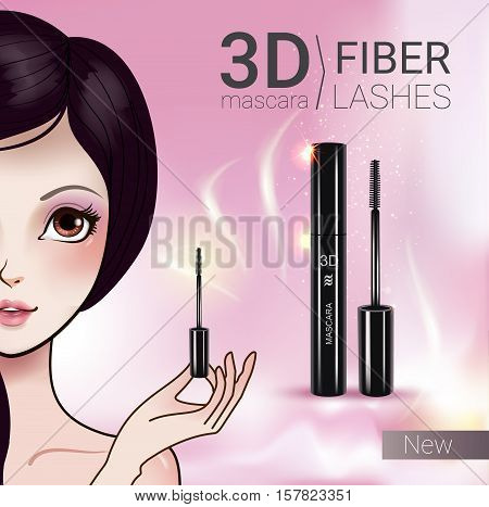 3d mascara ads. Vector Illustration with Manga style girl and mascara.