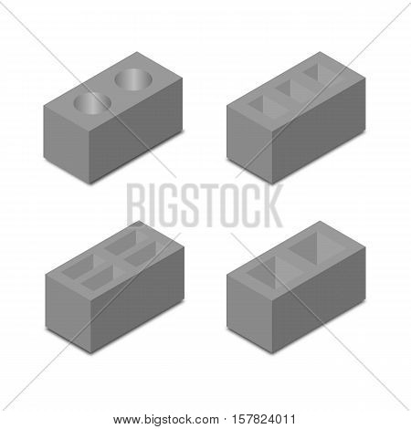 Set of four different shapes isometric cinder blocks design elements construction materials isolated on a white background vector illustration.
