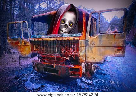 Road accident. Careless driver destroy truck on icing highway. Grim Reaper looking from window. Digital artwork on road safety theme.