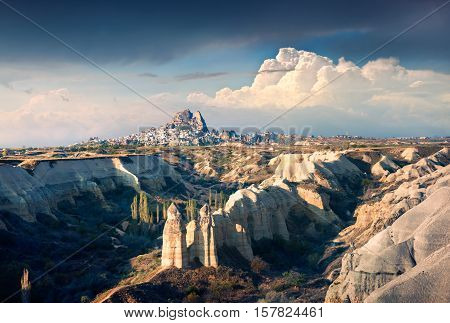 April morning in canyon near the famous Cappadocia village Uchisar district of Nevsehir Province in the Central Anatolia Region of Turkey Asia. Artistic style post processed photo.