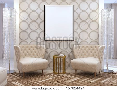 Seating Area In The Living Room In The Style Of Art Deco.