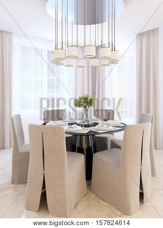 Modern Dining Table With Six Chairs.