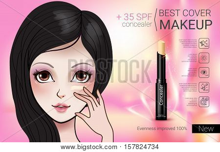 Concealer stick ads. Vector Illustration with Manga style girl and foundation Concealer.