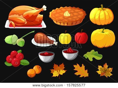 Set of element for Happy Thanksgiving Day on black background. Badge, icon, template an apple, cranberries, pumpkin pie, leaf, turkey, sous, rowan berry.