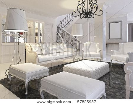 Luxury White Living Room With White Furniture And Black Marble Floor.