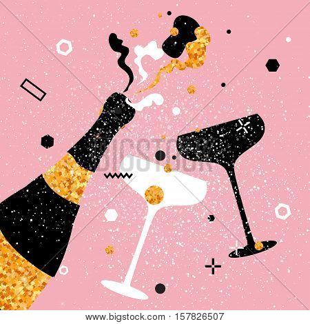 Champagne flute - vintage couple and bottle with golden glitter elements on pink background. Cheers - Clinking glass silhouette. Cheerful holiday. Alcoholic beverages. Concept party celebration.