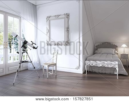 A Large Window And A Telescope In The Nursery Room.