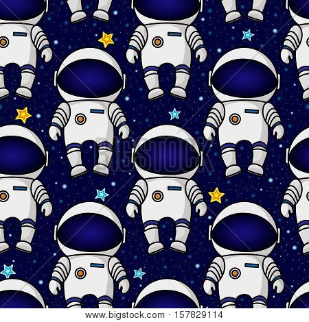 Colorful seamless cartoon space pattern with astronauts and stars on starry night sky background, vector illustration. Space travel seamless pattern with astronauts and stars