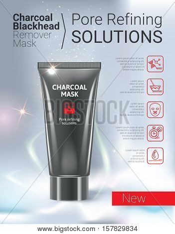 Charcoal Mask ads. Vector Illustration with Charcoal Blackhead Remover Mask tube.