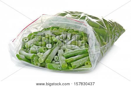 Frozen French beans on white background