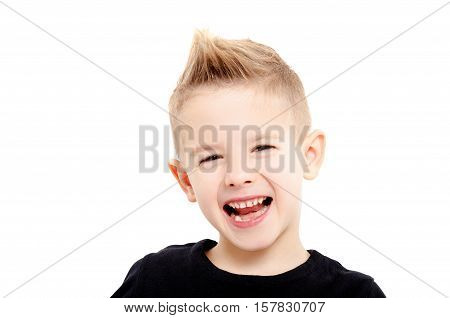 Portrait of attractive laughing boy with stylish hairstyle, closeup, isolated on white background