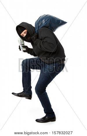Burglar steals money and bag