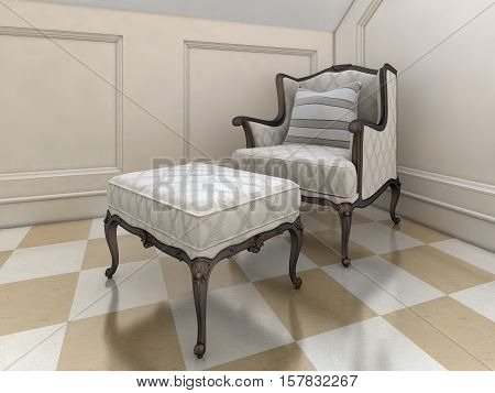 The Big Easy Chair In The Bathroom In English Style.