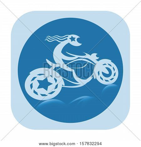 Long hair moto biker on motorcycle icon